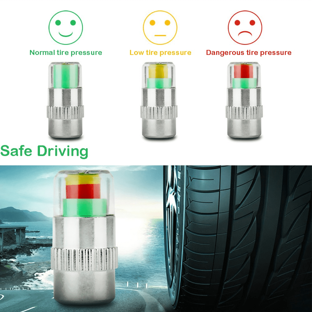 Tyre Pressure Monitor - Smart Tyre Valve Caps (Set of 4)