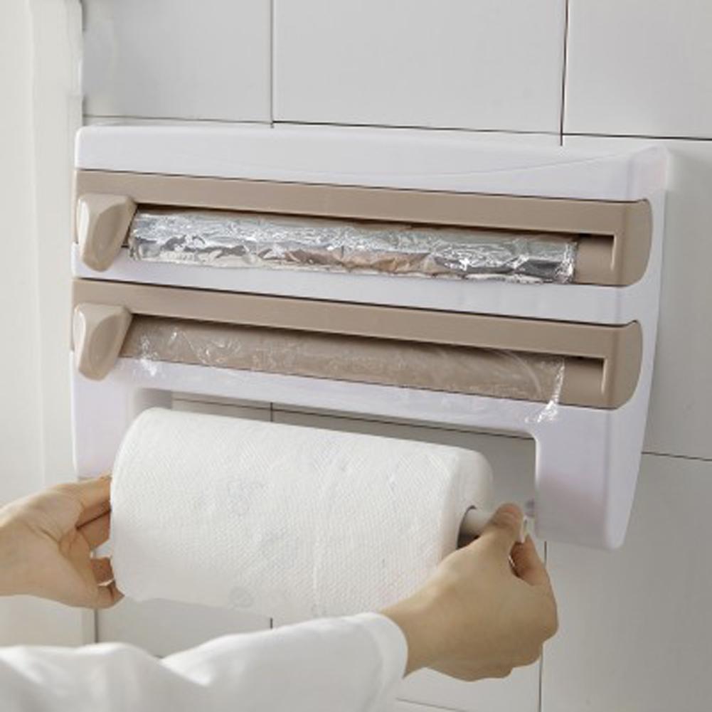 4 In 1 Kitchen Organizer Wall Mounted Rack Dispenser Shelf