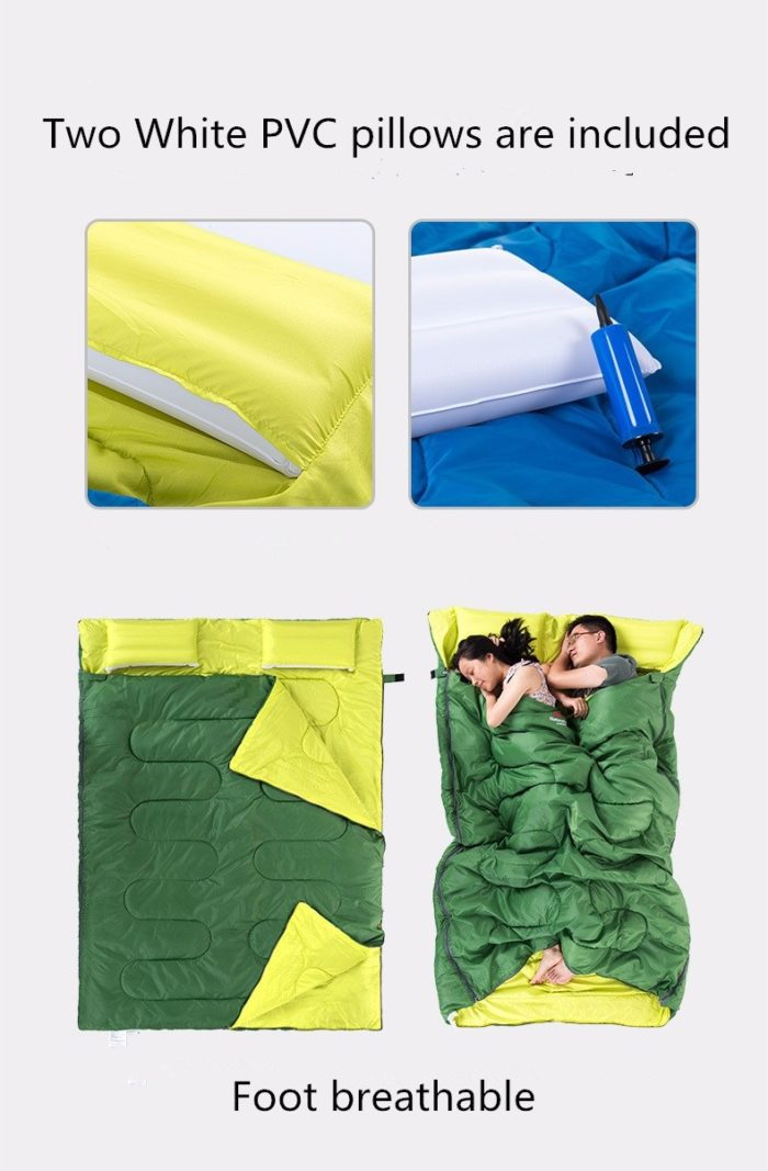 Double Sleeping Bag With Inflatable Pillows