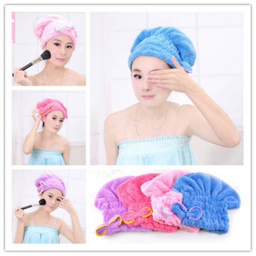 Quick Hair Drying Microfiber Hair Towel Cap