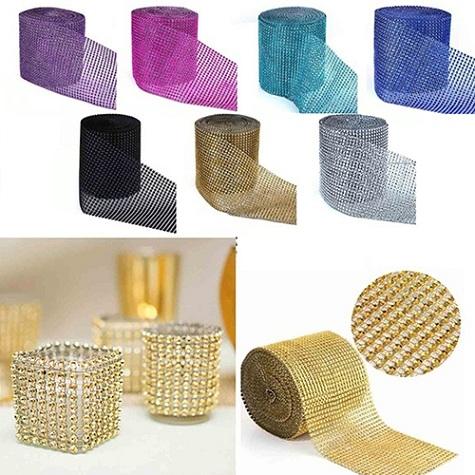 Sparkle Rhinestone Plastic Wrap Mesh (1 Yard)