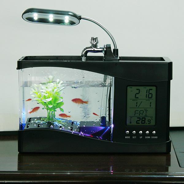 Mini USB Desktop Aquarium Lamp/Clock