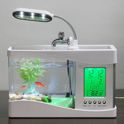 Mini USB Desktop Aquarium Lamp/Clock