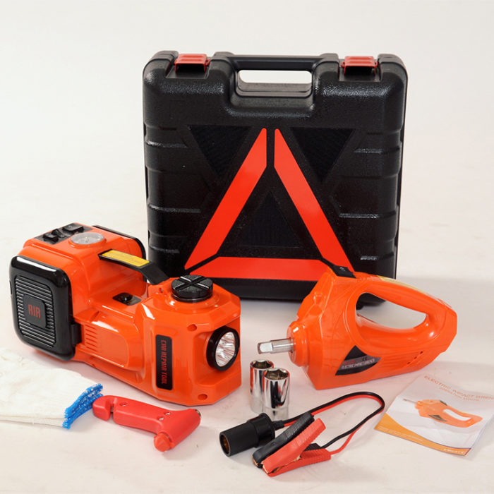 12V Electric Hydraulic Floor Jack Set with Impact Wrench