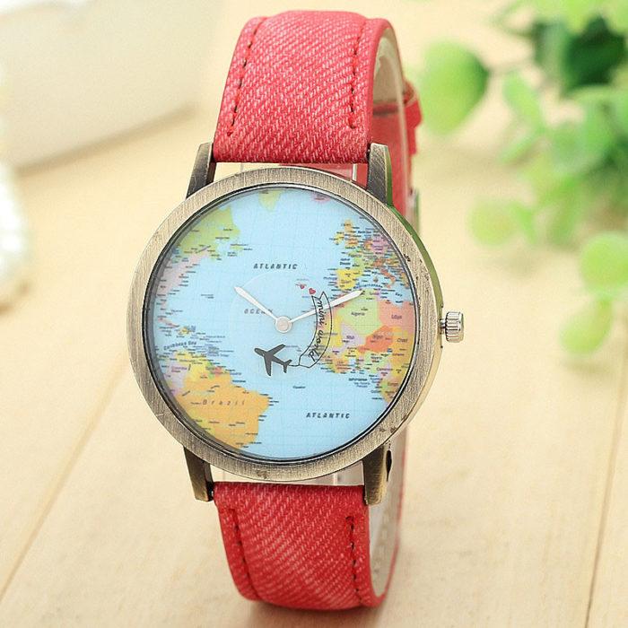 Global Map Casual Quartz Watch