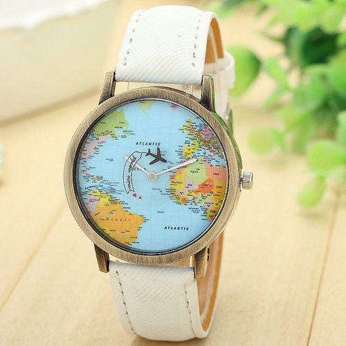 Global Map Casual Quartz Watch