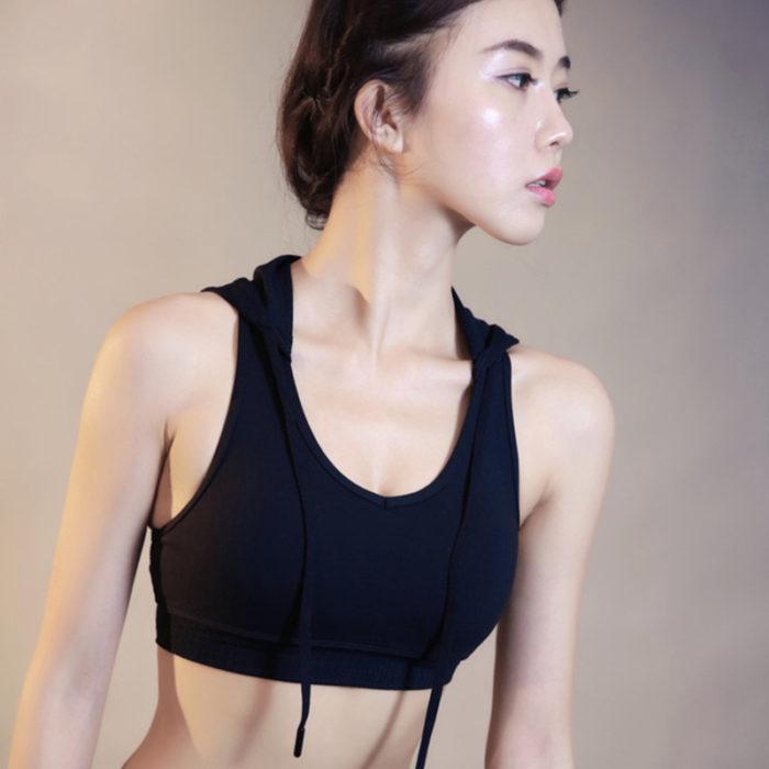 Women Sports Bra Crop Top With Drawstring Hoodie