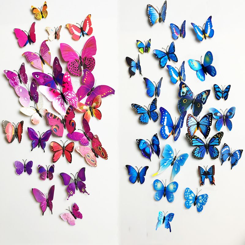 12pcs 3D Stickers-Butterfly Wall Decor Decals