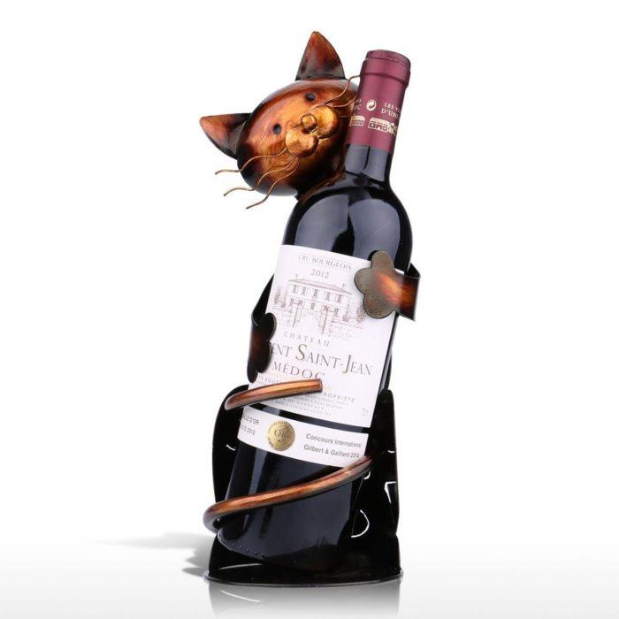 Handmade Cat Shaped Wine Bottle Holder