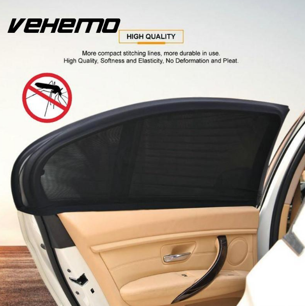 Vehemo 2Pcs Car Window Cover for UV Mosquito Dust Protection Mesh