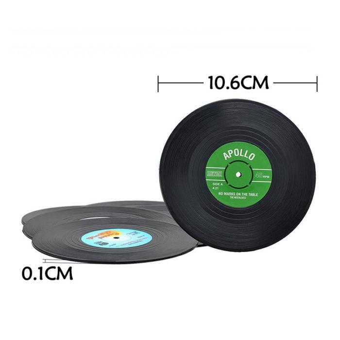 6 Piece Set Vintage Vinyl Record Coasters