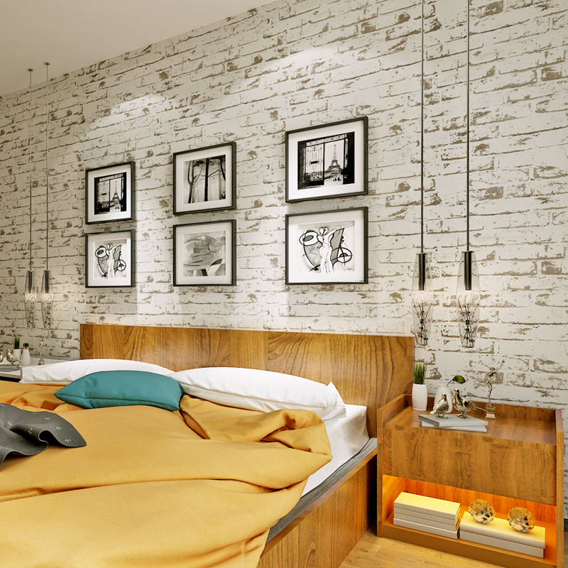 Embossed Non-Woven Fabric Brick Design Wallpaper