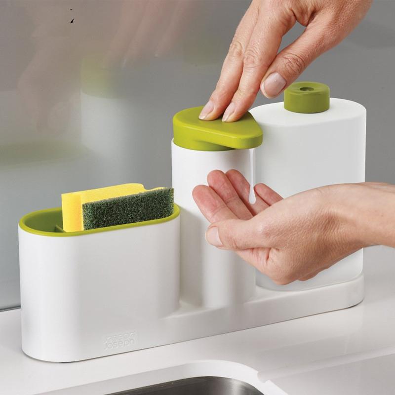 3-in-1 Soap Dispenser, Reusable Bottle & Storage Rack