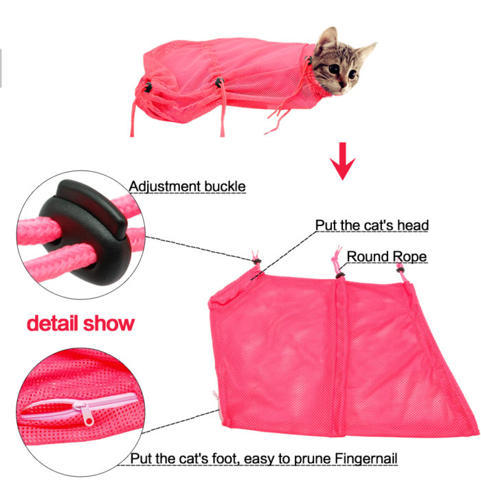 Cat Grooming Bag Cat Restraint Bag For Bathing/Nail Trimming/Medicating