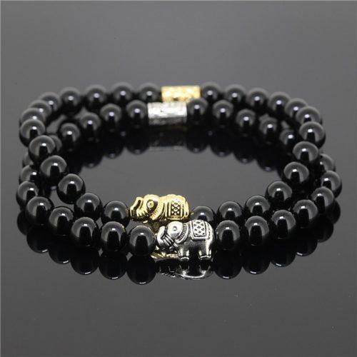 Black Female Bead Onyx Natural Stone Charm Bracelet