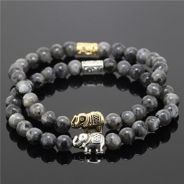 Natural Elephant Onyx Stone Bead Charm Bracelet