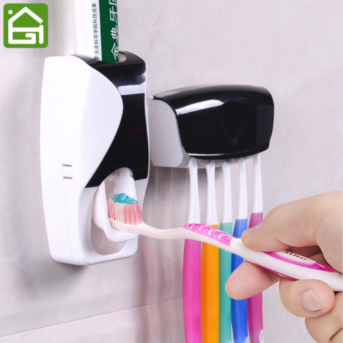 Set of Toothpaste Automatic Dispenser & Toothbrush Holder