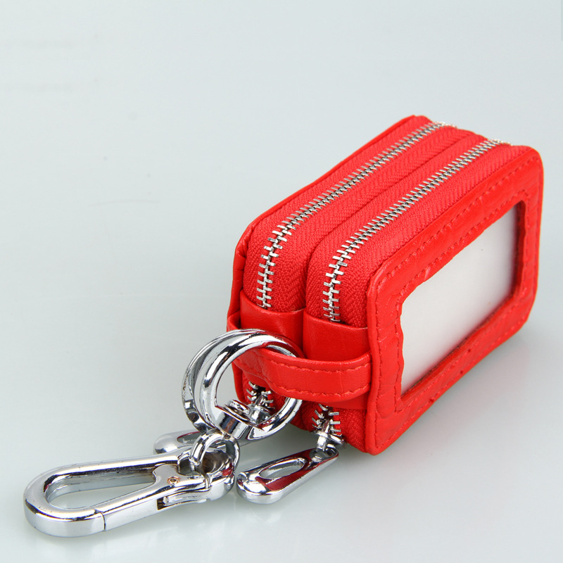 Leather Pouch Car Key Holder With Zipper Closure Chain