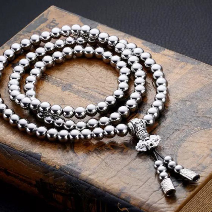Self Defense Metal Buddha Bead Necklace Whip