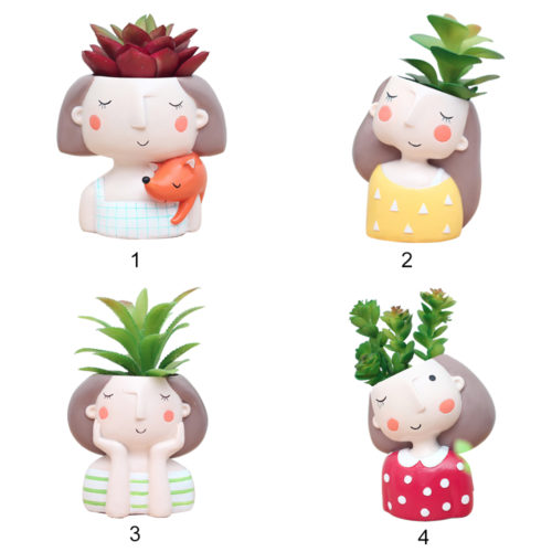 Succulent Pots Cute Girl Design