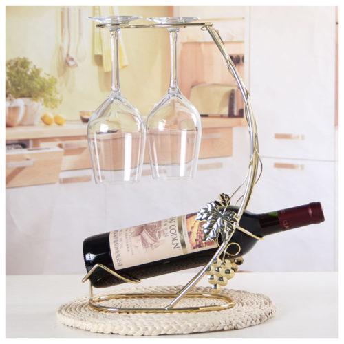 Decorative Wine Bottle And Wine Glass Holder Rack