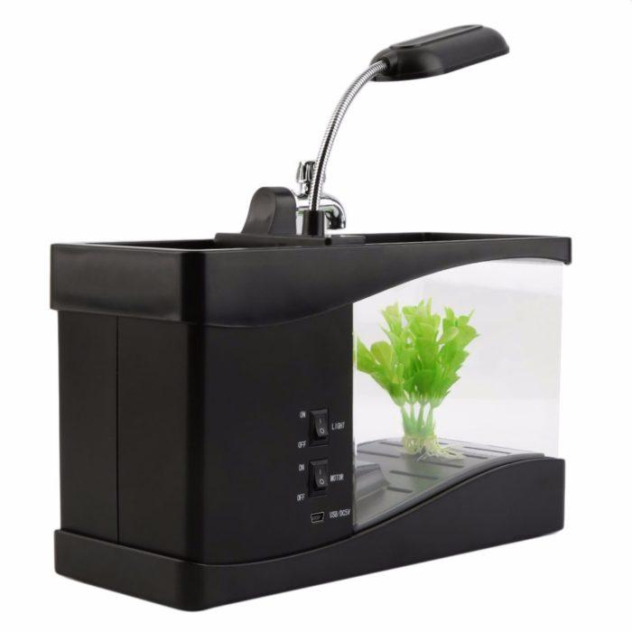 Mini USB Desktop Aquarium Fish Tank Clock