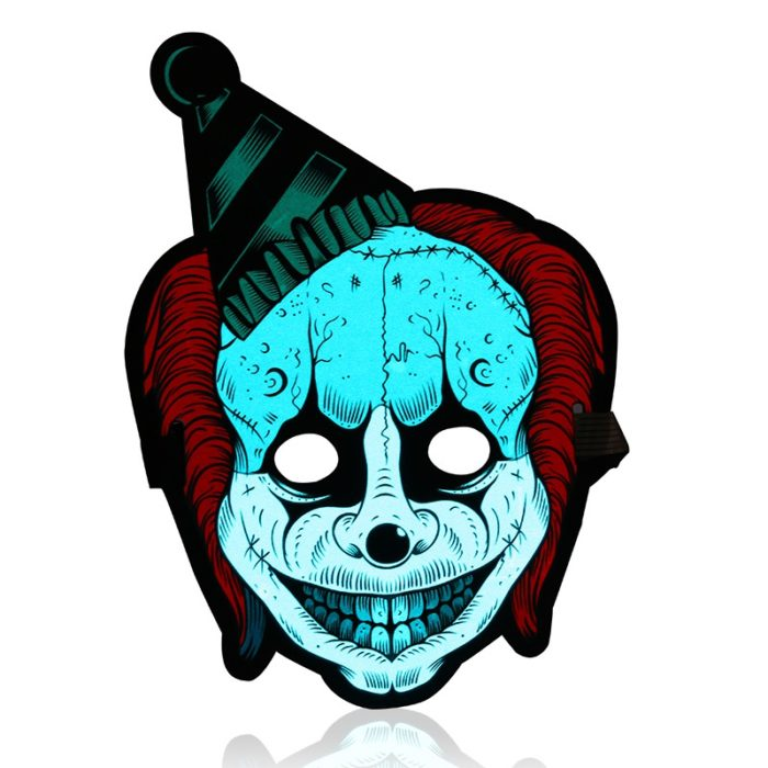LED Mask Sound Reactive Clown Halloween Costume