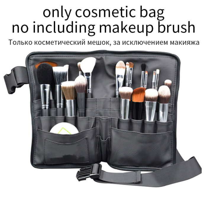 Makeup Brush Belt Leather Makeup Holder Organizer Bag 2in1