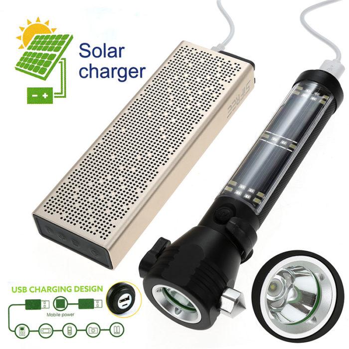 Survival Tools Solar Flashlight with Window Breaker Power Bank Seatbelt Cutter