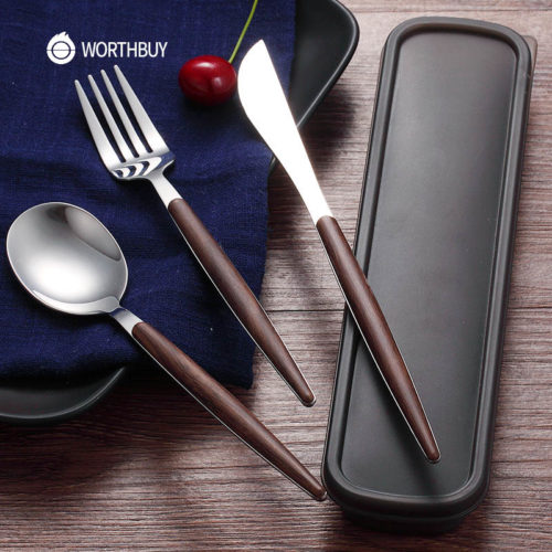 Stainless Steel Cutlery Set with Wooden Handle