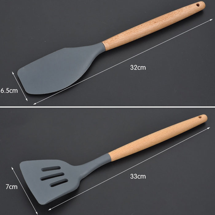 Silicone Wooden Handle Cooking Utensils