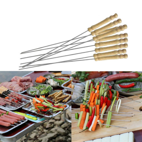Metal BBQ Skewers With Wooden Handle (Set of 10)
