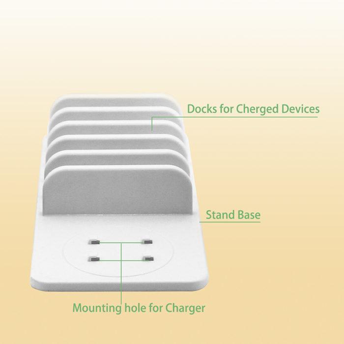 5-Port USB Charging Station Dock with Mushroom LED Night Light