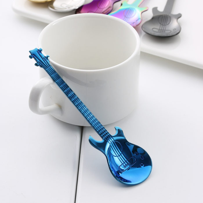 Rainbow Guitar Shaped Coffee Mixing Spoon