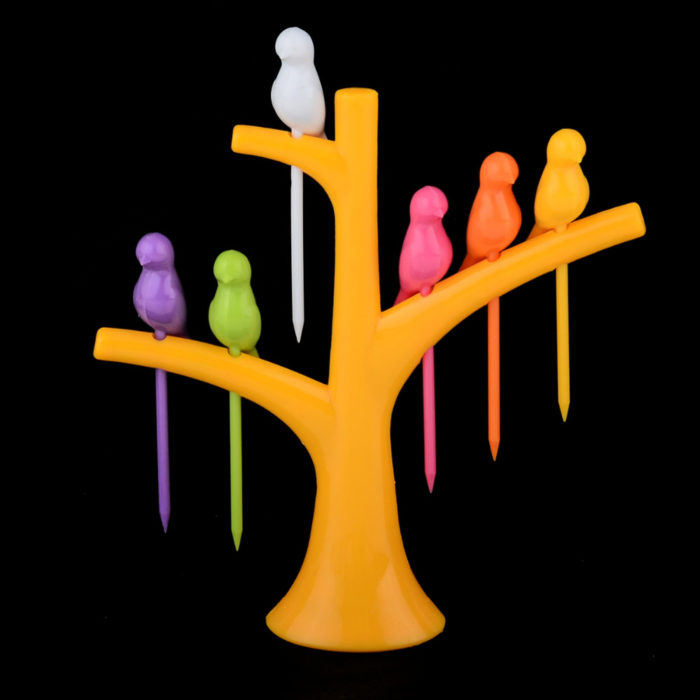 Tree Birds Design Rainbow Plastic Fruit Forks Set