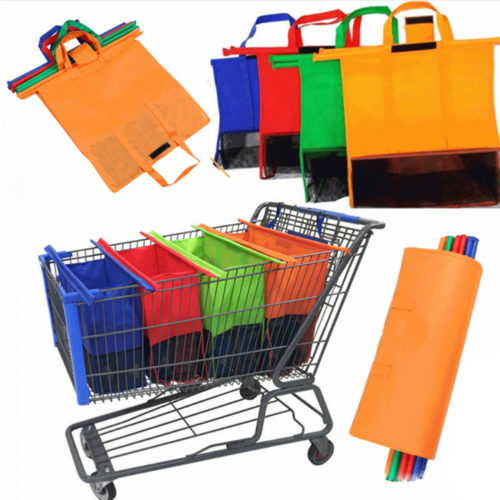 4-Piece Foldable Shopping Cart Bags