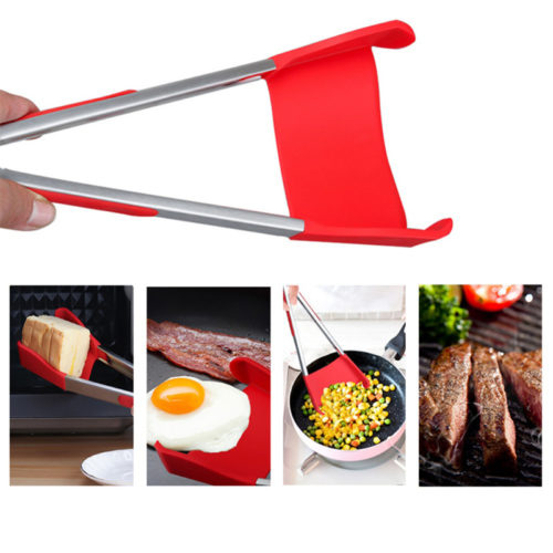2-in-1 Silicone Kitchen Spatula Tongs