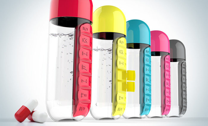 Sports Water Bottle With Built-In Pill Box