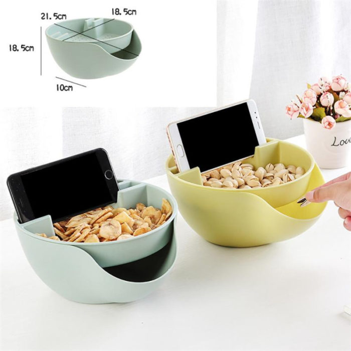 Nut Storage Bowl With Cell Phone Holder Gap