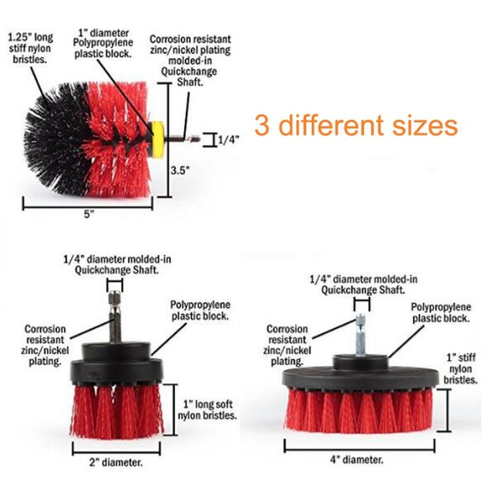 3pcs Drill Brush Scrubber Cleaning Kit