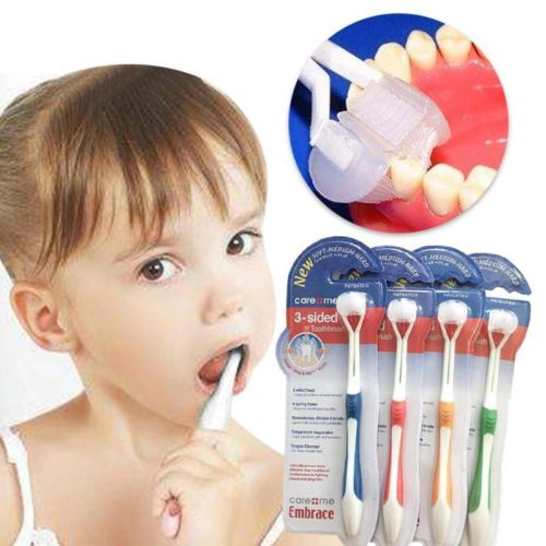 3-sided Toddler Kids Toothbrush Soft Bristles