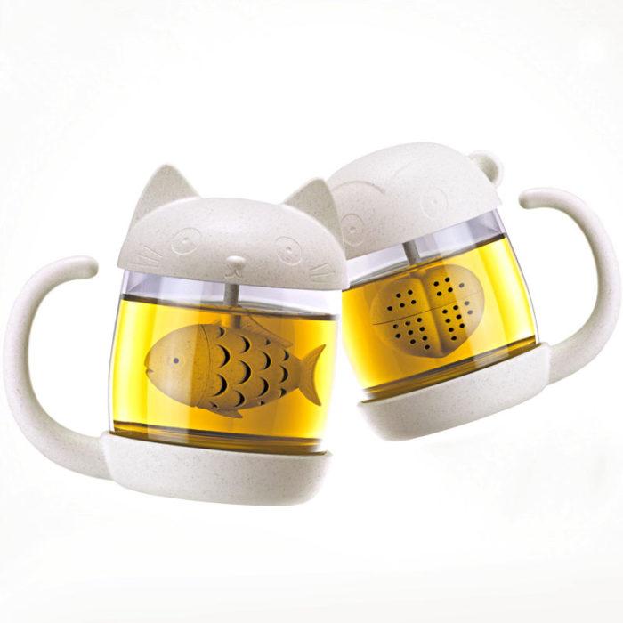 Loose Tea Infuser Cat Glass Mug