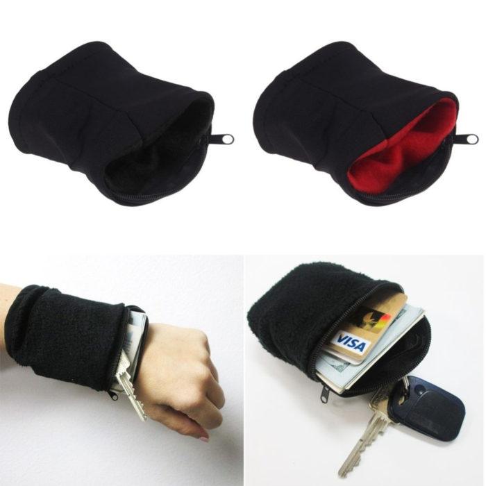 Wrist Wallet Band Zipper Running Pouch