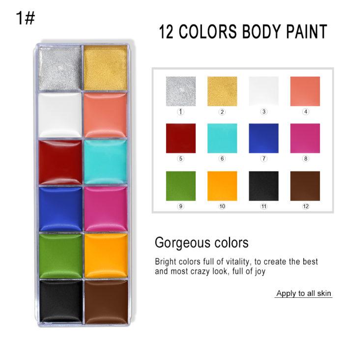 12 Colors Oil Face Paint Pallete