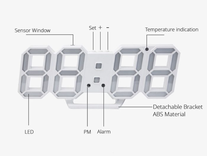 3D Digital Wall Clock LED Light