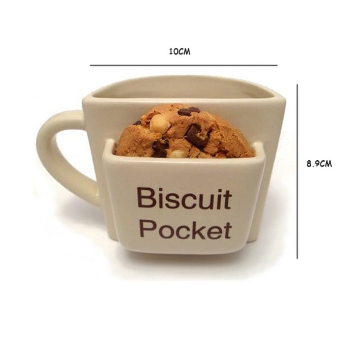 Ceramic Cookie Mug with Biscuit Pocket