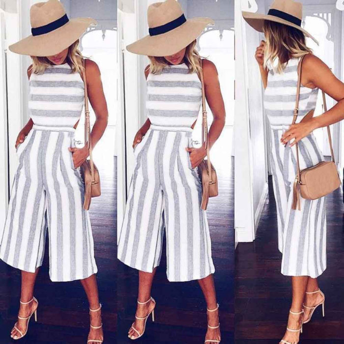 Casual Sleeveless Striped Jumpsuit
