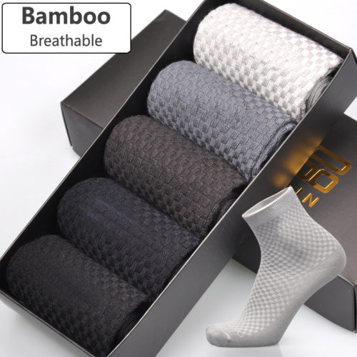 5pairs Men Bamboo Socks High Absorbent