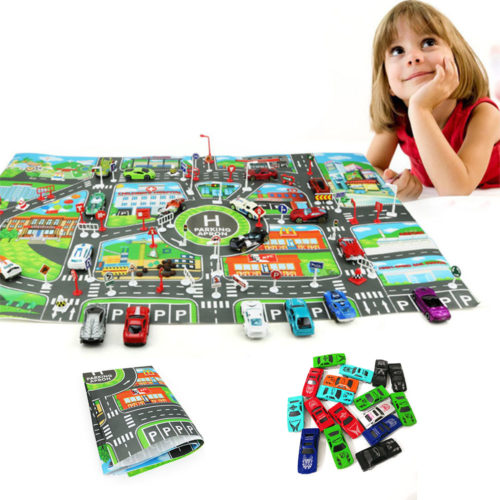 Car Play Mat Parking Road Map