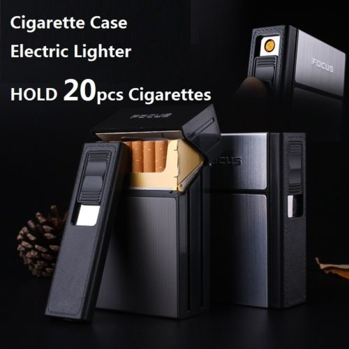 Cigarette Case Box Flameless Lighter
